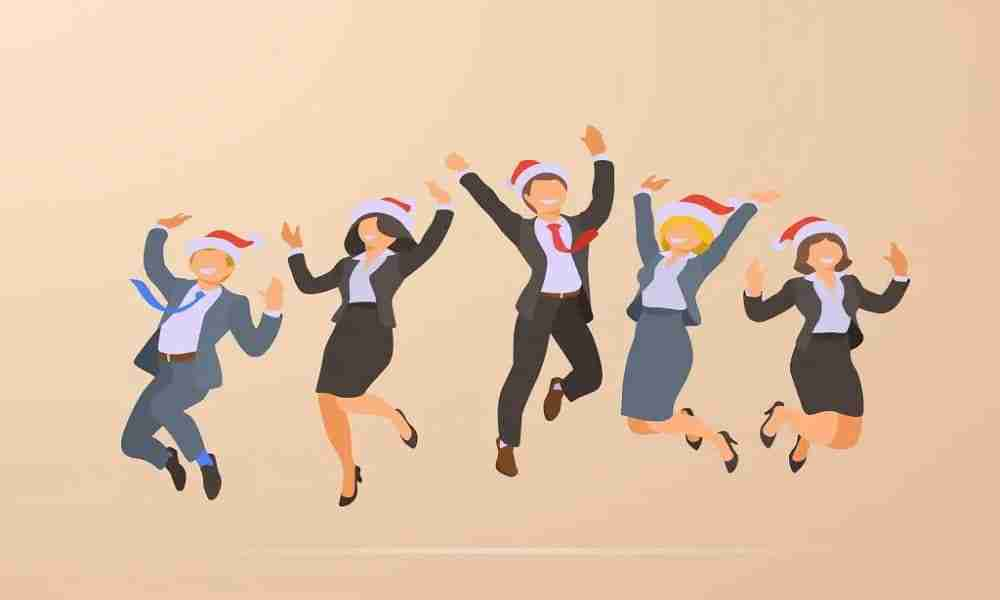 Jumping Dancing Happy Business Office