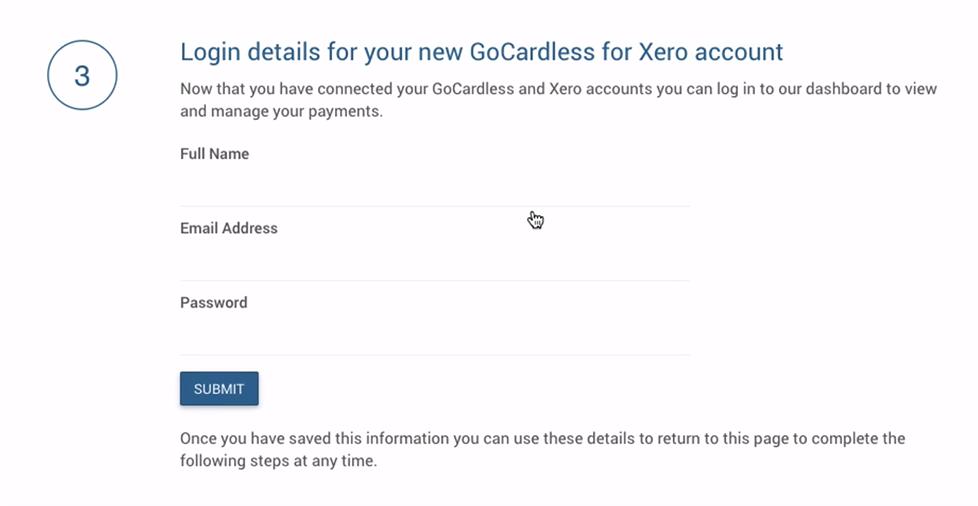 set your login details Gocardless Xero